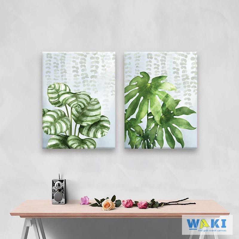 """Bộ 2 tranh trang trí phòng khách """"Lá xanh"""" - W051"""