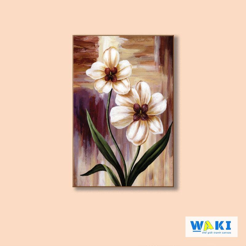Tranh treo tường hoa lá phong cách sơn dầu - W028