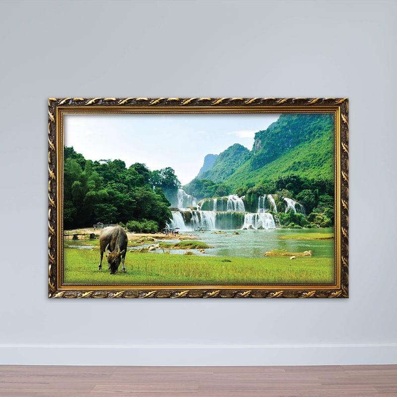 Tranh phong cảnh làng quê | Tranh đồng quê Việt Nam thanh bình W1845 -  Tranh Đẹp Waki