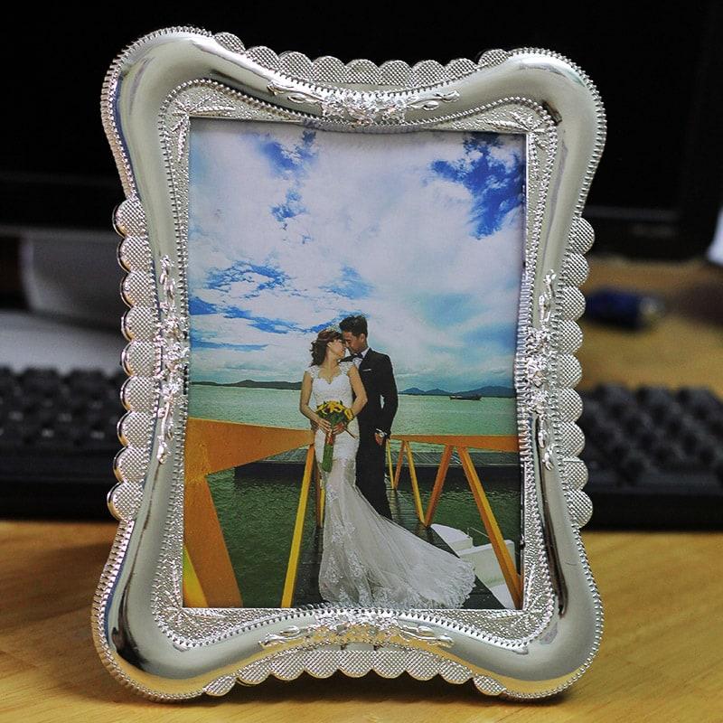 [TIẾT KIỆM 30%] Combo 3 khung ảnh cưới hoa văn màu bạc 13x18cm WK86